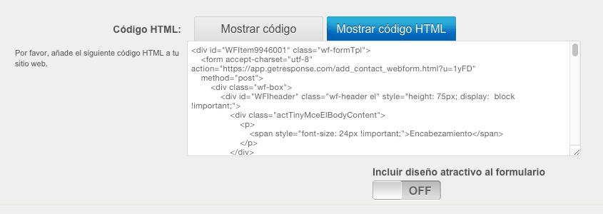 HTML del formulario Web en GetResponse