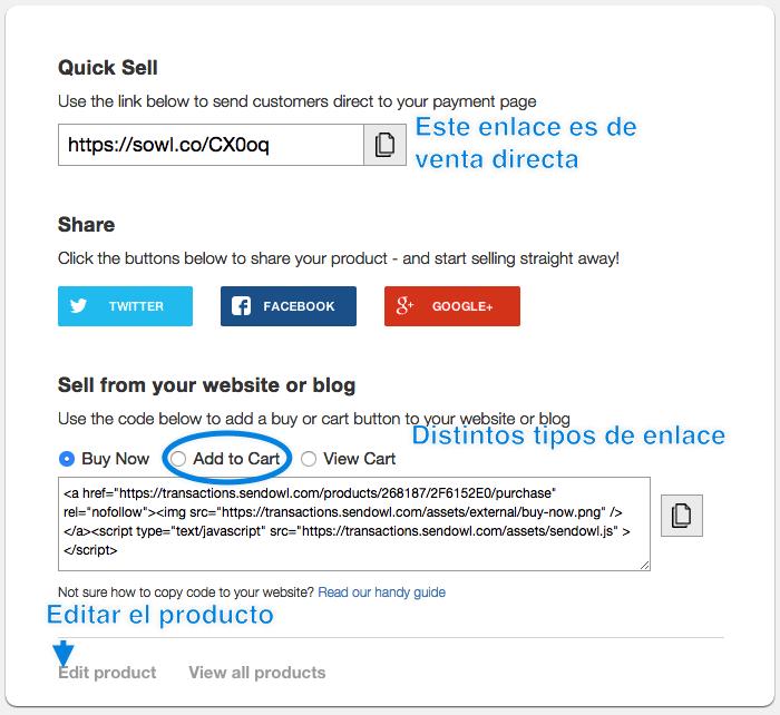 Opciones de venta de SendOwl