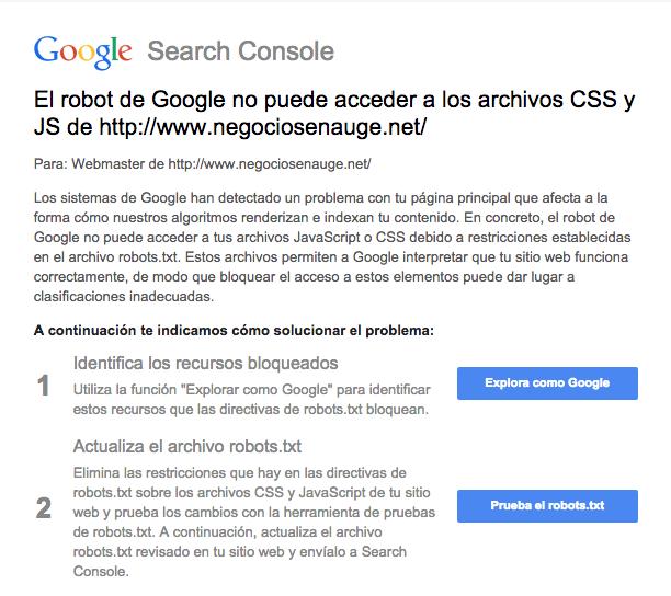 Googlebot no puede acceder a los archivos CSS y JS