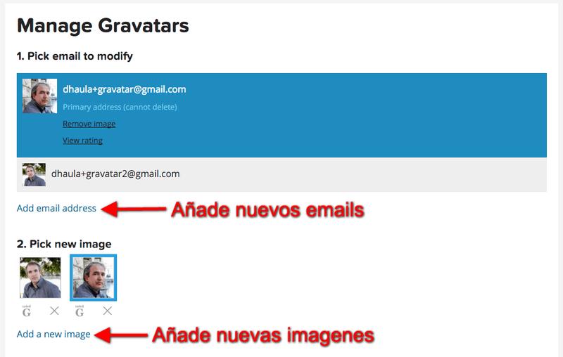 Añade nuevos emails a gravatar