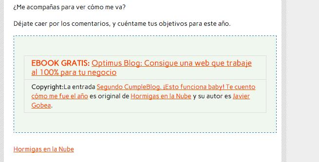 Mi firma RSS en una entrada plagiada
