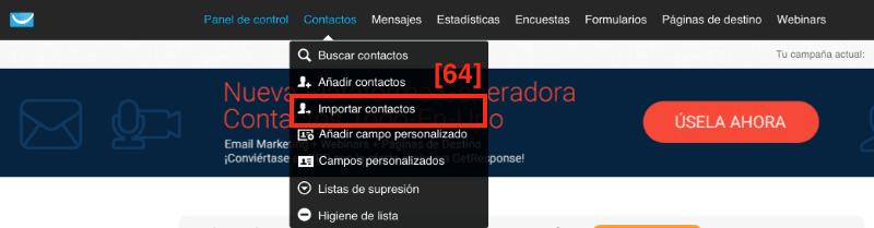 Cómo importar contactos en GetResponse