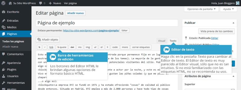 Editor Visual y Editor de Texto al agregar contenido en WordPress