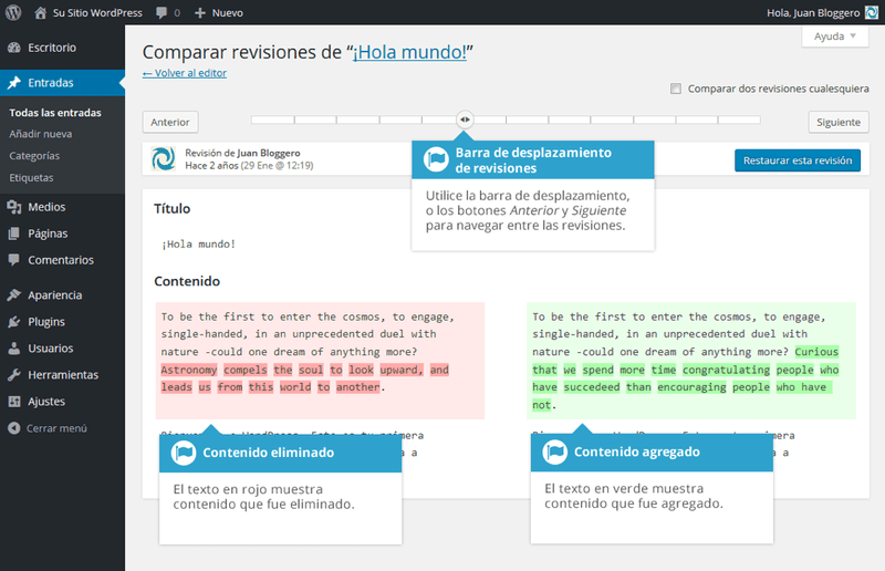 Revisiones de las entradas en WordPress