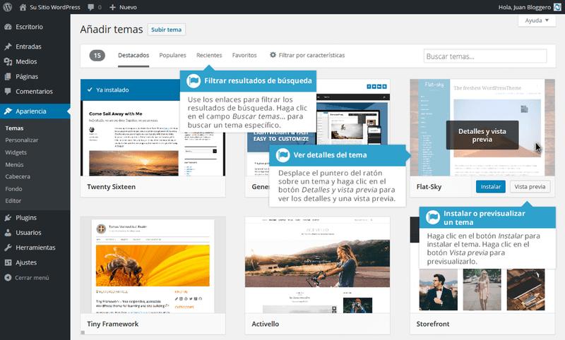Añadiendo temas en Apariencia para WordPress