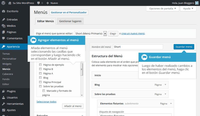 Agregando elementos al menú de WordPres
