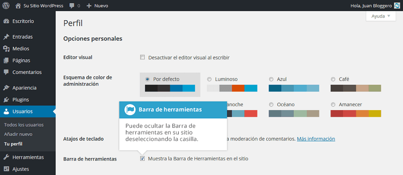 Activar y desactivar barra de herramientas de WordPress