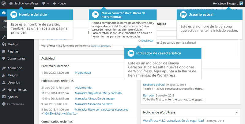 Encabezado de Escritorio de WordPress