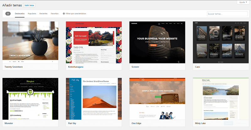 añadir temas en Wordpress