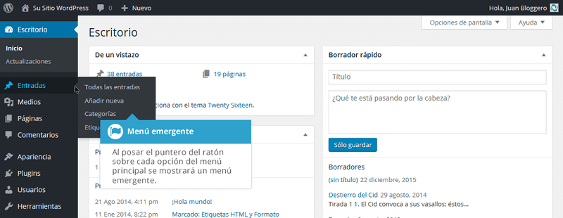 Menú emergente en WordPress