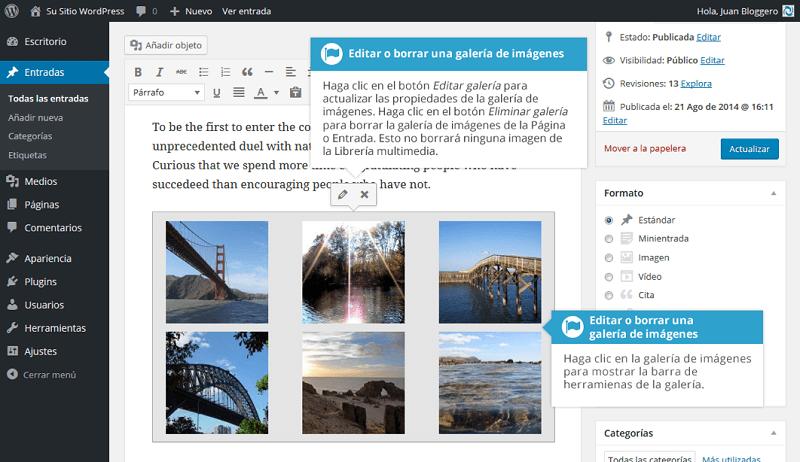 Editar o borrar galería de imágenes en WordPress