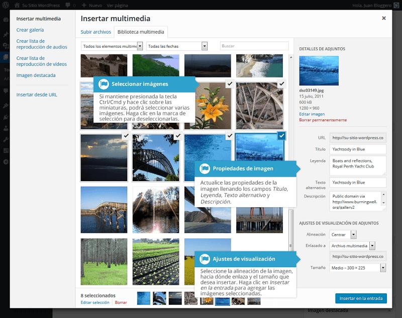 Propiedades de la imagen en WordPress