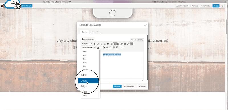 Insertar texto nuevo Beaver Builder