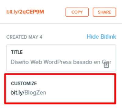 personalizar url bitly