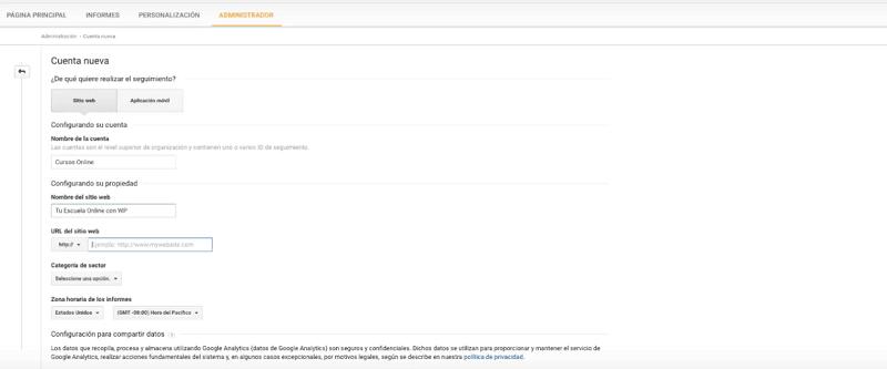 Completar cuenta de Google Analytics