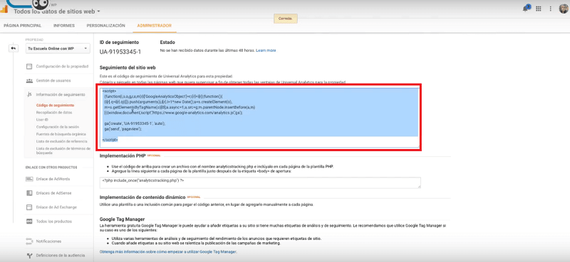 Código de Google Analytics