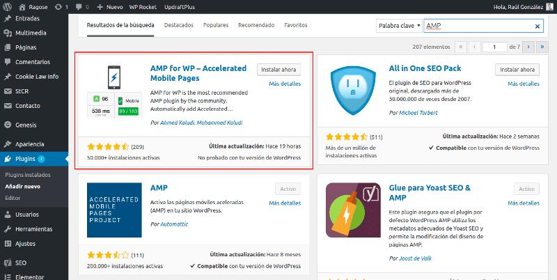 Instalar AMP for WP