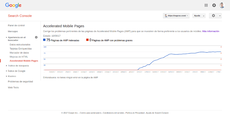 Search Console Accelerated Mobile Pages