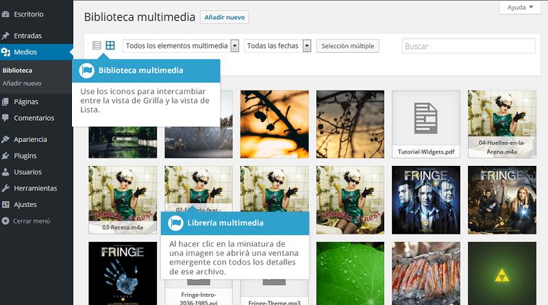 vista lista o cuadricula biblioteca multimedia