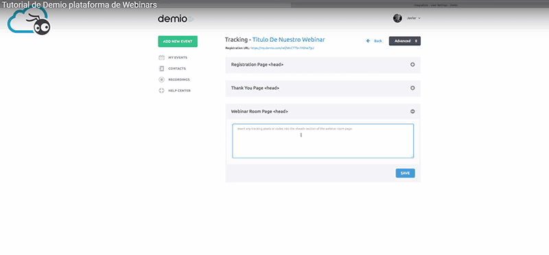Demio funcion tracking