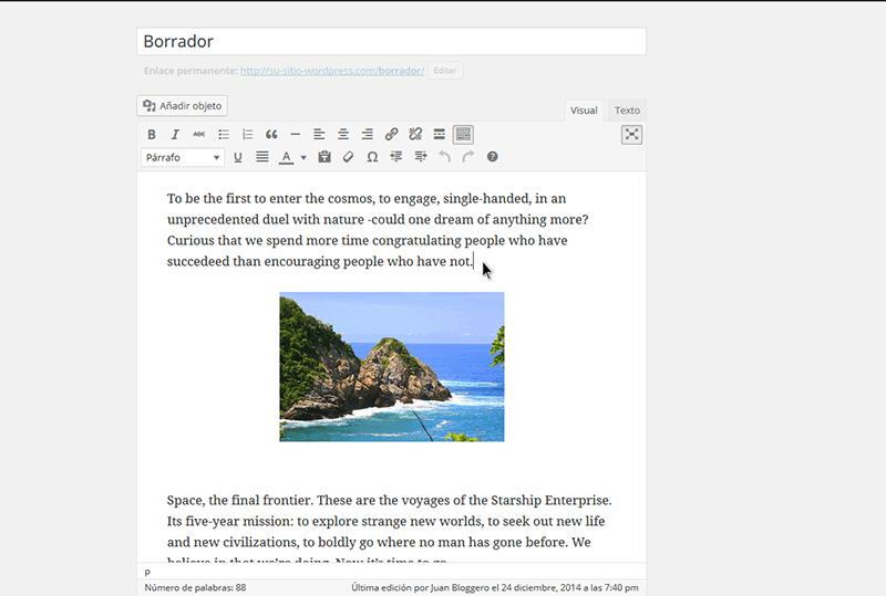editar contenido en pantalla completa