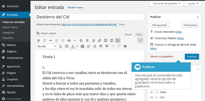 Guardar y publicar contenido en wordpress