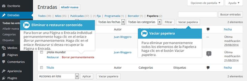 Borrar contenido en wordpress de forma permanente
