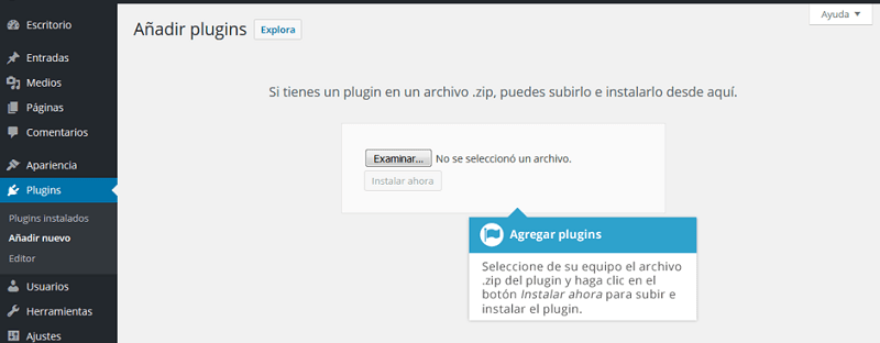 Añadir plugin en wordpress