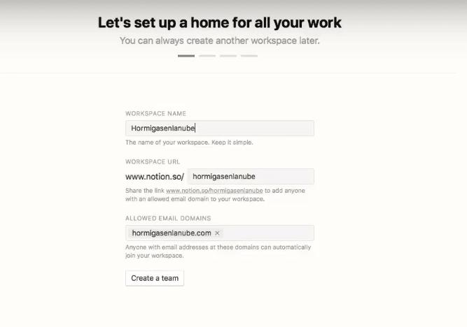 Crear espacio de trabajo en Notion