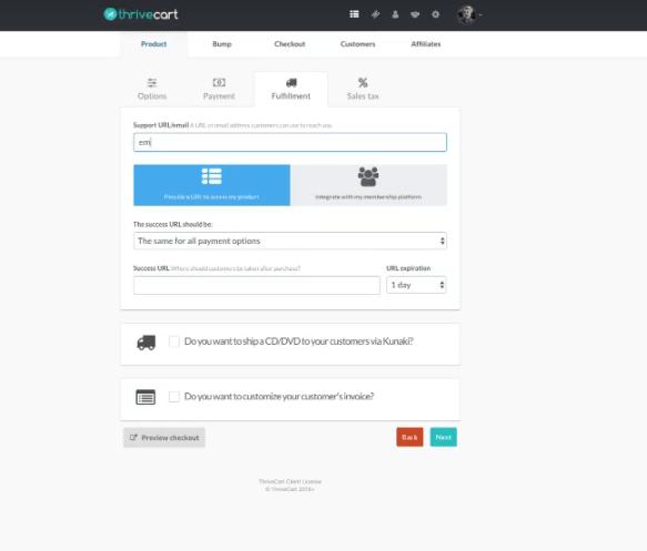 email de negocio con Thrivecart