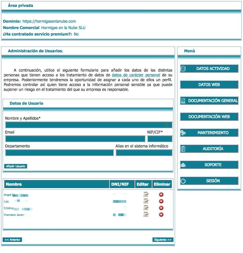 administracion de usuarios RGPD lex blogger