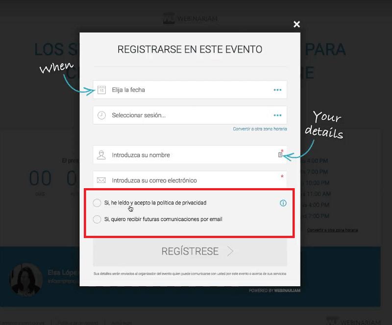 Adaptar un webinar al RGPD con webinarjam