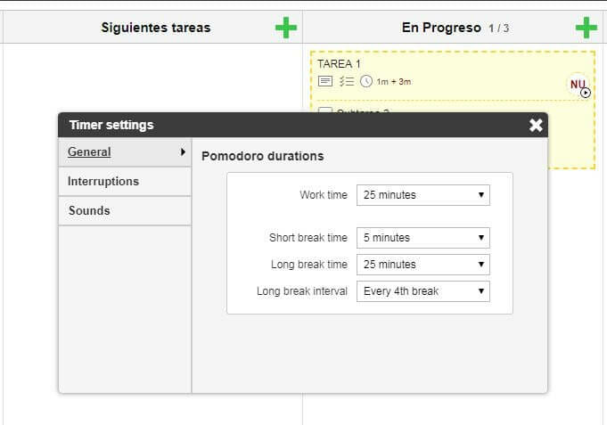 Kanban flow: configurar timer