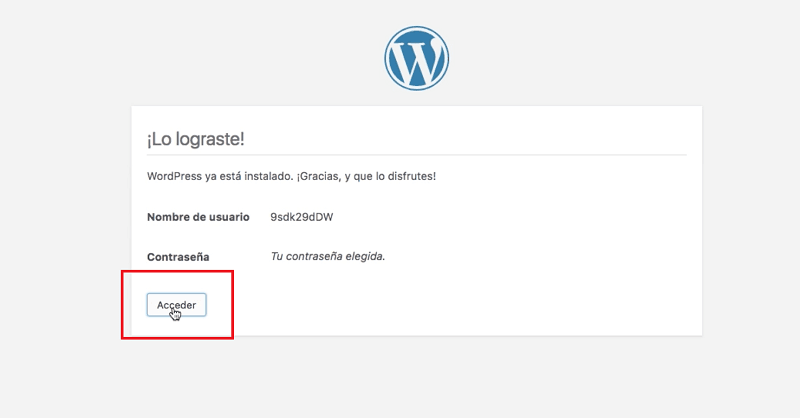 Instalar WordPress: acceder a wordpress
