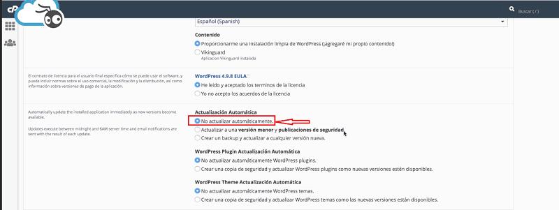 Instalar WordPress: actualización automática