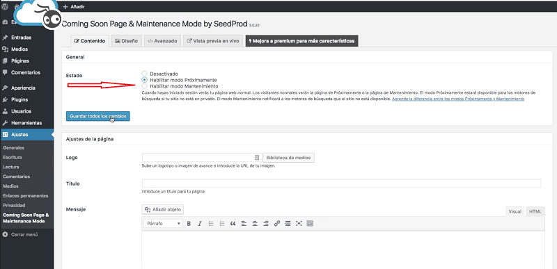 Instalar WordPress: configurar plugin comming soon