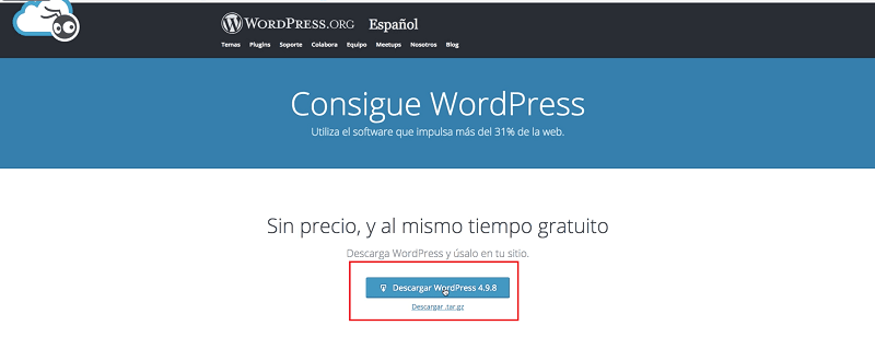 instalar wordpress y descargar wordpress