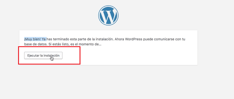 Instalar wordpress: ejecutar instalación