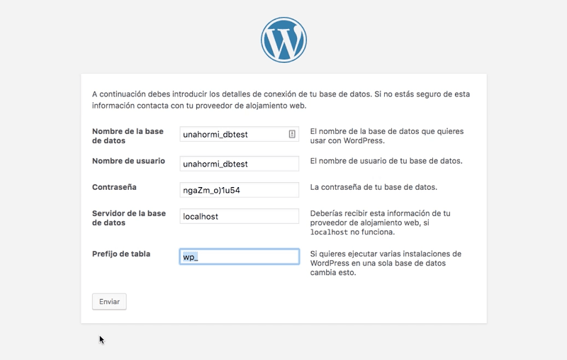 Instalar WordPress: servidor de base de datos