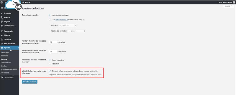 Instalar wordpress: visibilidad para motores de búsqueda