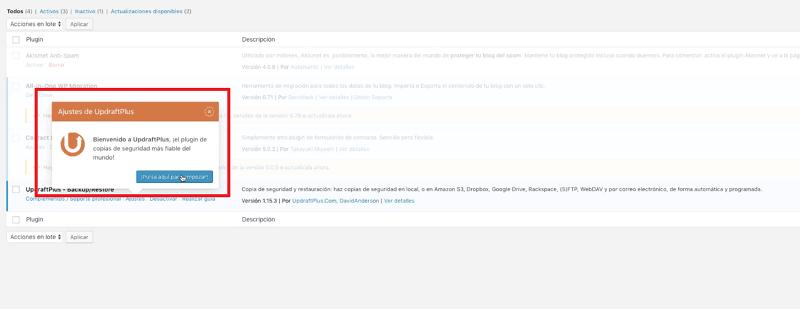 Actualizar WordPress: activar updraftplus