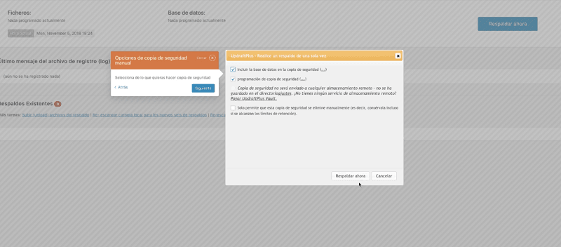 Actualizar WordPress: configurar copia de seguridad