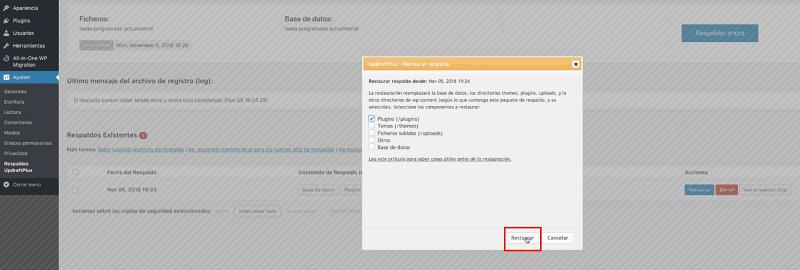Actualizar WordPress: restaurar copia de seguridad