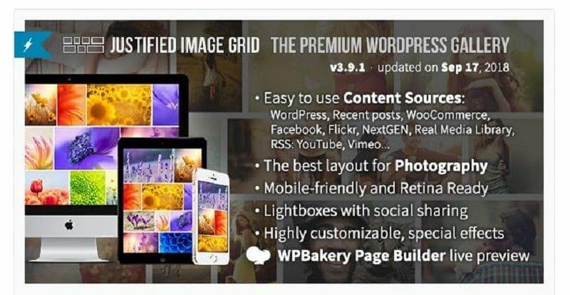 galería de imágenes en WordPress: Justified image grid