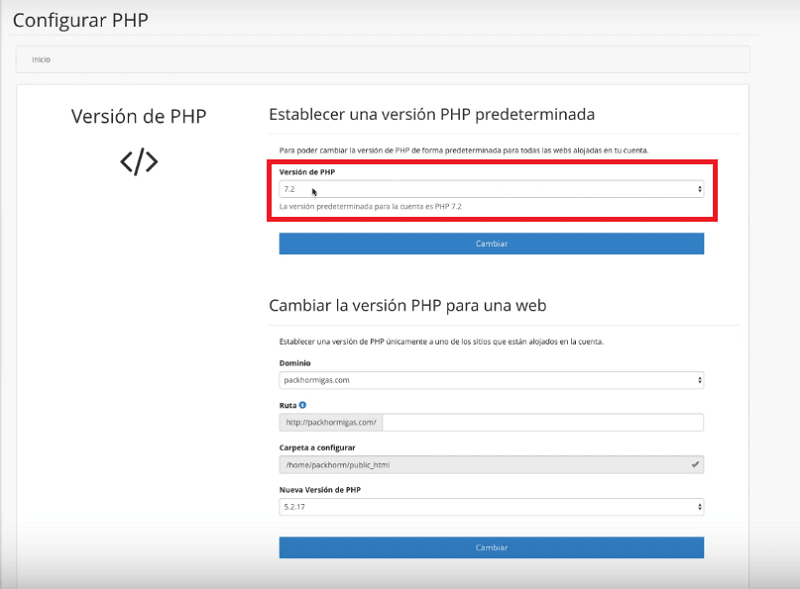 cambiar versión PHP en webempresa