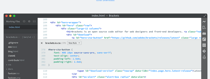 editores de código: brackets