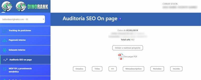 DinoRANK Auditoría SEO on page