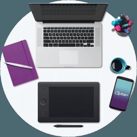 Mockup escritorio herramientas