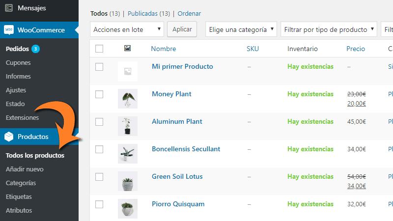 Gestión de productos en WooCommerce