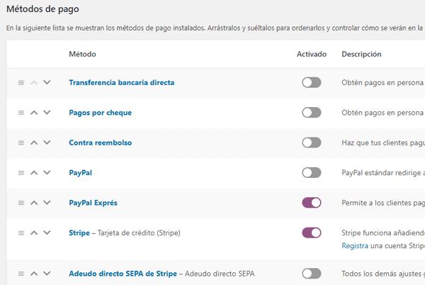 Formas de pago en tienda para WordPress